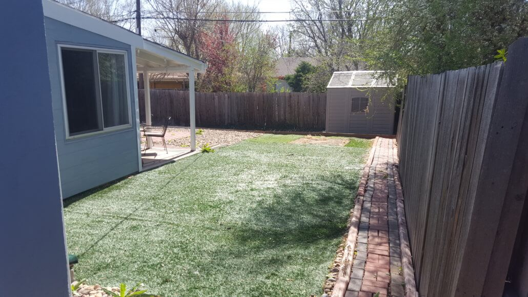 Before photo of the side yard.