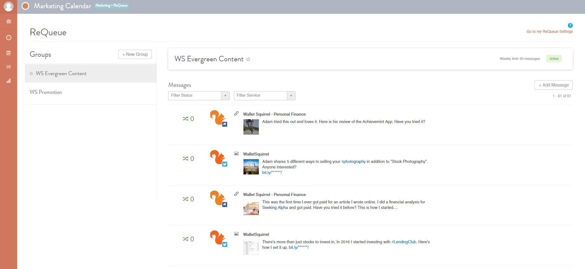CoSchedule Review ReQueue Categories Screenshot