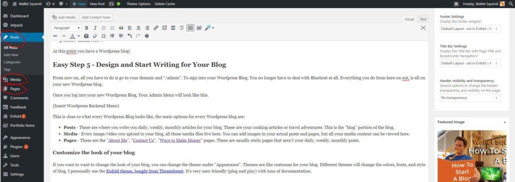 How To Start A Blog Wordpress Backend