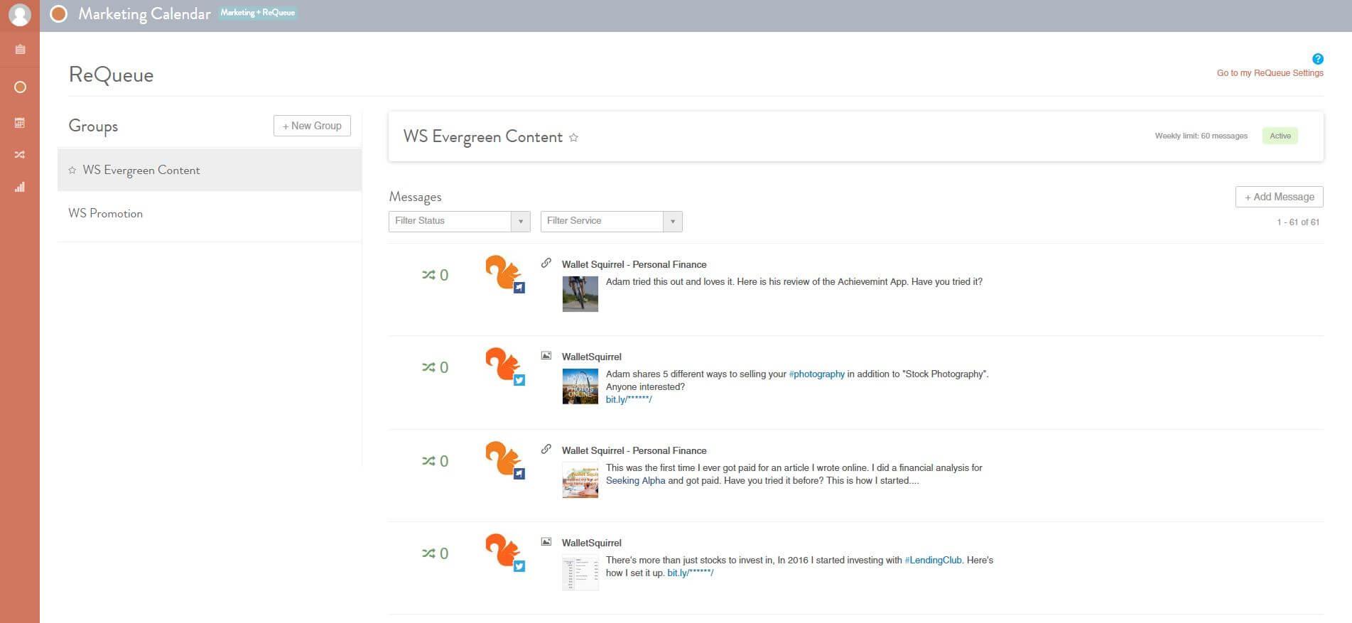 CoSchedule Review ReQueue Categories Screenshot