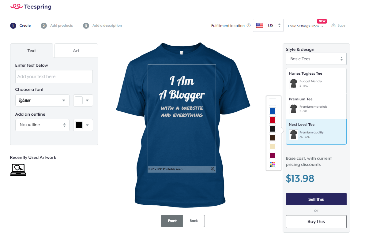 Teespring review i tried making money designing custom t for How to make money selling custom t shirts