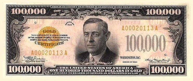 Facts about money with the $100,000 bill.