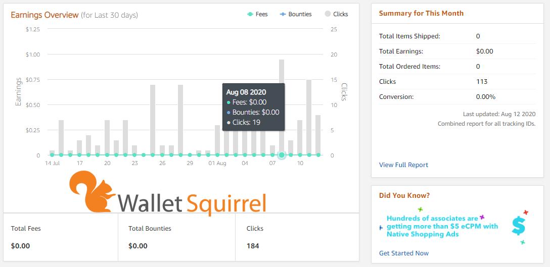 Amazon Associates - User Dashboard