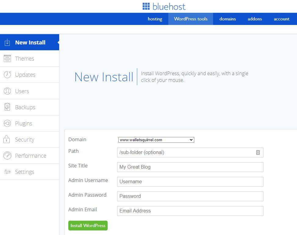 Bluehost Install Wordpress 2020.9.18